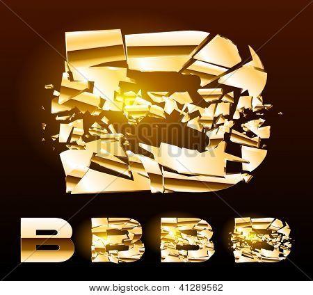 A vector letters set of a broken golden alphabet. Symbol b