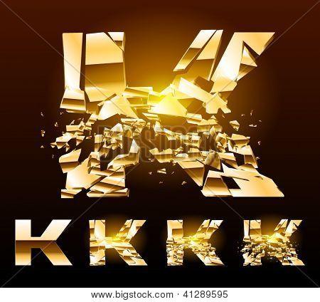 A vector letters set of a broken golden alphabet. Symbol k