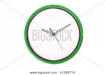 A clock showing 10 past 10 o'clock. Isolated on a white background.