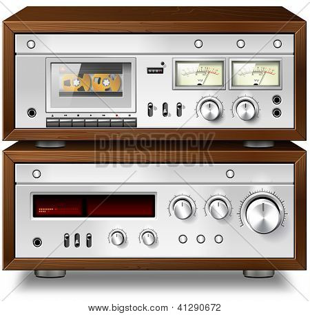 Analog Music Stereo Audio Compact Cassette Deck with Amplifier vintage rack