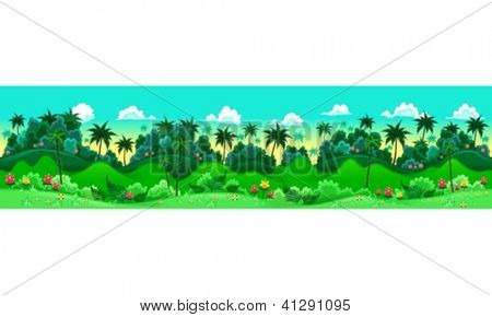 Green forest. Vector illustration with measures: 6144x1536 pixels, adaptable to iPad screen. The sides repeat seamlessly for a possible, continuous animation.