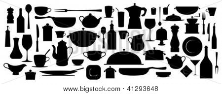 Collection of silhouette kitchen utensil tool.