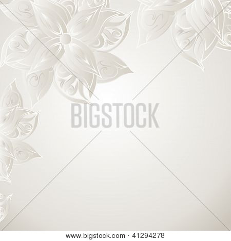 Silver background with floral ornament