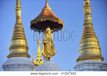 Buddha Statue On Top Of Pagoda Around Shwedagon Pagoda - Yangon,burma