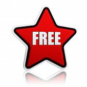 stock photo of free-trade  - 3d red star banner with text free like button business concept - JPG