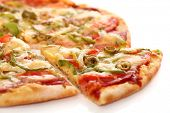 pic of hot fresh pizza  - Image of fresh italian pizza isolated over white background - JPG