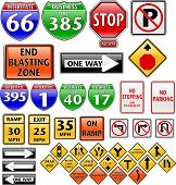 picture of road sign  - collection of road signs in different shapes - JPG