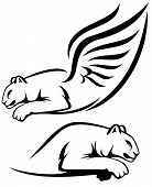 stock photo of cougar  - winged lion and cougar vector outline  - JPG