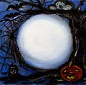 stock photo of full_moon  - the full moon is out a pumpkin ghost bat spider and tree create the perfect ambiance for your message - JPG
