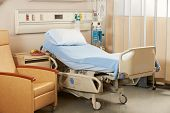 stock photo of ward  - Empty Bed On Hospital Ward - JPG