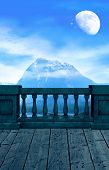 stock photo of magickal  - A balcony overlooking a mountain and the almost - JPG