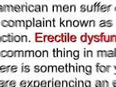 stock photo of erectile dysfunction  - Bold highlighted wording in red with abstract blurred relative text for common problems - JPG