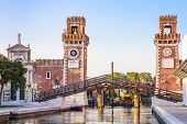picture of arsenal  - Venice Arsenale historic shipyard Gate and Canal View - JPG