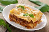 stock photo of lasagna  - classic lasagna bolognese - JPG