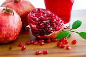 stock photo of pomegranate  - Pomegranate fruits  and pomegranate juice  - JPG