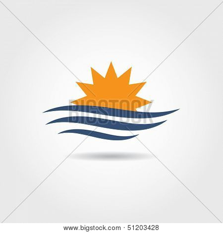 Sun and wave icon. Vector illustration