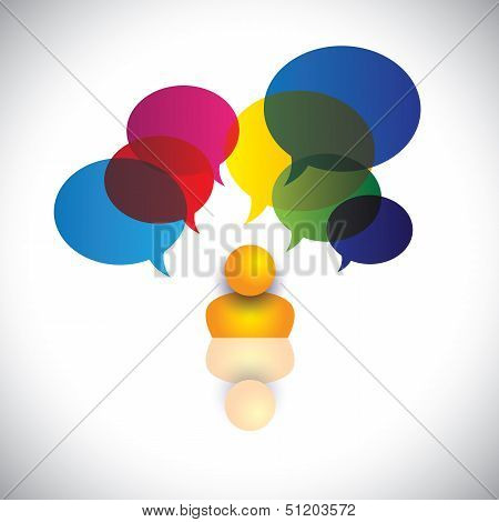Concept Vector Of A Man With Puzzles, Questions, Doubts Or Ideas.