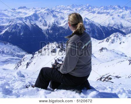 Woman Admiring Mountain View