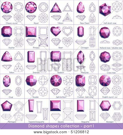 Diamond shapes collection (part 1)  - raster version