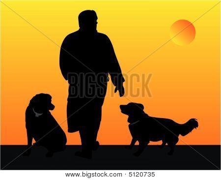 Man Walking His Dogs  Illustration..