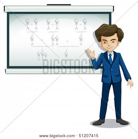 Illustration of a man explaining the images in the bulletin board on a white background