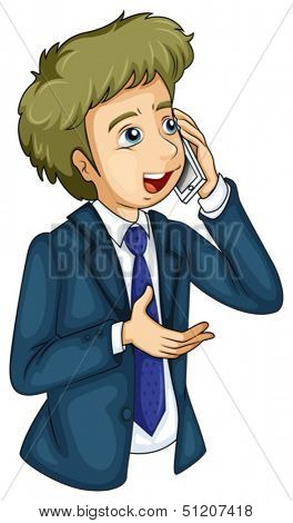 Illustration of a businessman using a cellular phone on a white background