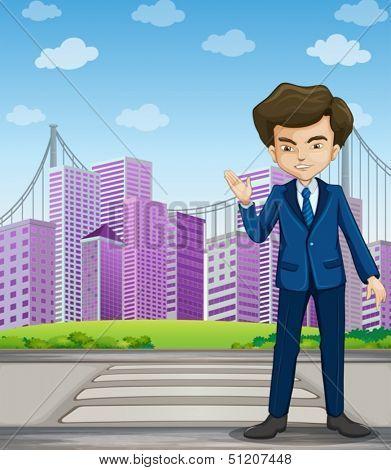 Illustration of a businessman at the pedestrian lane