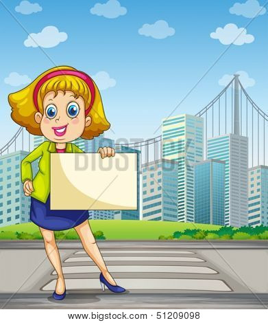 Illustration of a woman at the pedestrian lane holding an empty signage