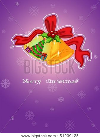 Illustration of a christmas template with a purple background