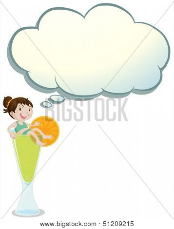 Illustration of a young child above a glass with an empty callout on a white background
