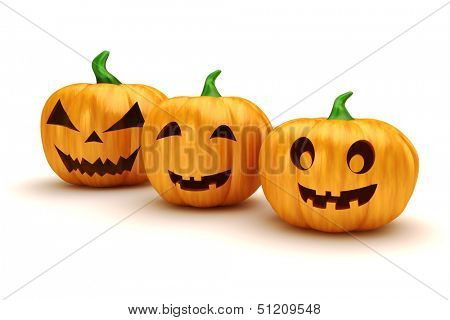 3d halloween pumpkins on white background