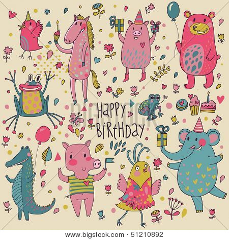 Cute funny animals in vector. Childish Birthday invitation card. Birds, horse, pig, bear, frog, crocodile and elephant in nice set