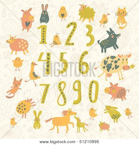 Learn to count. All numbers and funny cartoon animals: cat, dog, cow, horse, rabbit and others in childish style