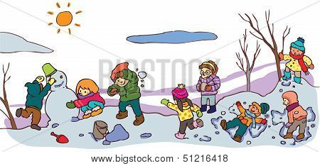 Children Having A Good Time In Winter Landscape (vector)