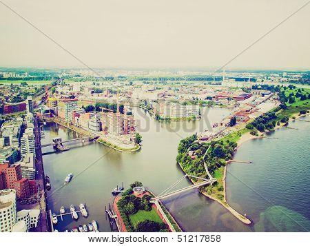 Retro Look Duesseldorf Mediahafen Harbour