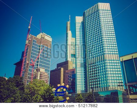 Retro Look European Central Bank In Frankfurt