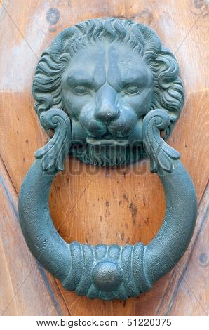 Vintage knocker door of metal lion