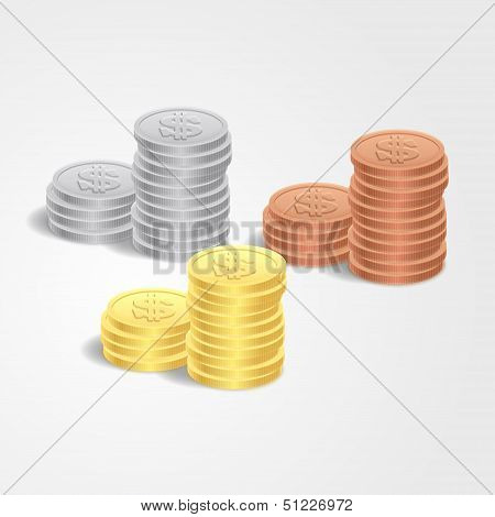 Vector illustration stacks of coins