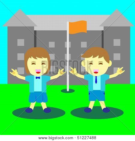 Concept Of Boy And Girl Happy Time At School