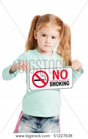 Serious Little Girl With No Smoking Sign.