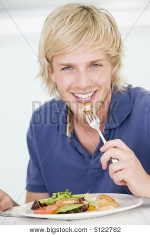 Young Man Enjoying Meal, Mealtime