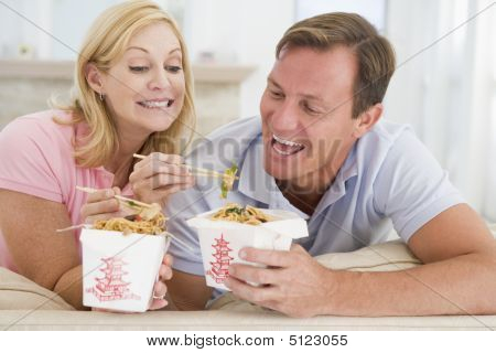 Couple Eating Takeaway Meal, Mealtime Together