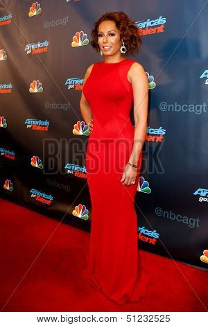 NEW YORK-SEP 17: Judge and singer Mel B. attends the pre-show red carpet for NBC's