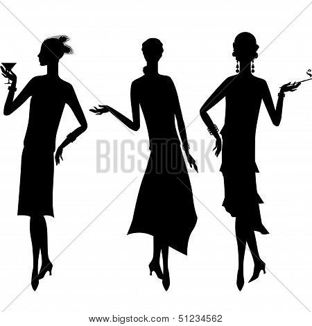 Silhouettes of beautiful girl 1920s style.
