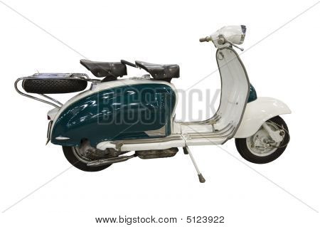 Vintage Green And White Scooter (path Included)