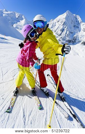 Ski, winter, ski lesson - female skiers on ski run