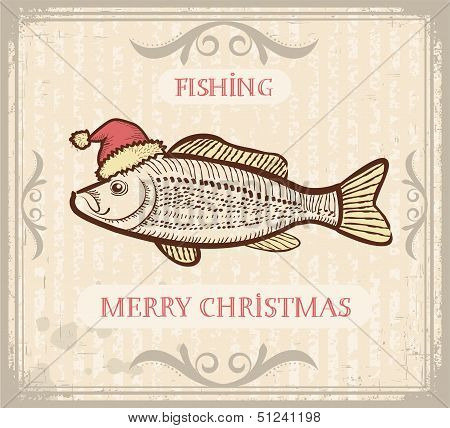 Christmas Image Of Fishing With Fish In Santa Hat .vector Drawing Illustration