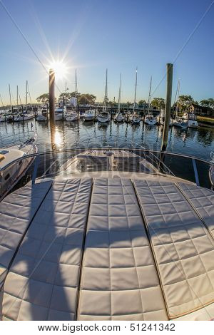 NORWALK, CT - SEPTEMBER 19: Absolute 55 FLY view from top in Norwalk boat show 2013 September 19, 2013 in Norwalk, CT.