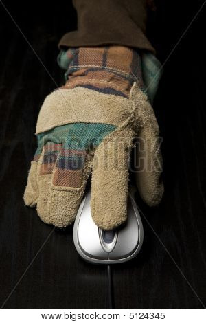 Hand In Work Glove Using A Computer Mouse