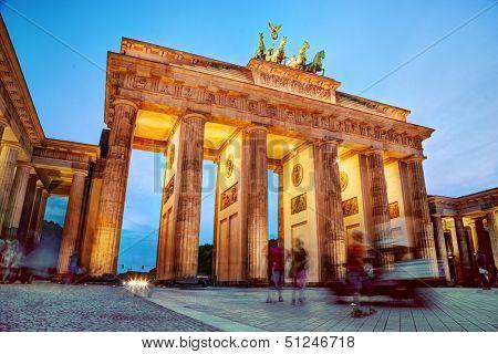 Brandenburg Gate. German Brandenburger Tor in Berlin, Germany. Illumination at night